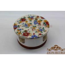 """Комбинированная распаячная коробка с круглой крышкой в стиле ретро, """"Ситец"""", подрозетник вишня"""