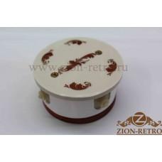 """Комбинированная распаячная коробка с круглой крышкой в стиле ретро, """"Золото"""", подрозетник вишня"""