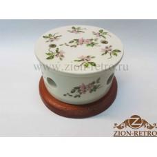 """Распаячная коробка с круглой крышкой в стиле ретро, """"Нежность"""", расписной стакан, подрозетник вишня"""