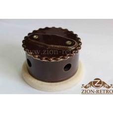 """Распаячная коробка с фигурной крышкой в стиле ретро, """"Шоколад"""", подрозетник береза"""