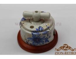 Выключатель двухклавишный с керамической ручкой бантик, «Лазурь», подрозетник вишня