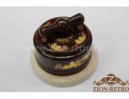 Выключатель двухклавишный с керамической ручкой бантик, «Магия золота», подрозетник береза