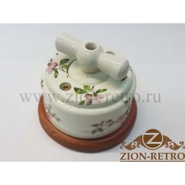 """Выключатель одноклавишный (проходной) с керамической ручкой бантик, """"Нежность"""", подрозетник вишня"""