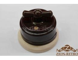 Выключатель двухклавишный с керамической ручкой бантик, «Шоколад», подрозетник береза