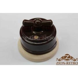 Выключатель одноклавишный (проходной) с керамической ручкой бантик, «Шоколад», подрозетник береза