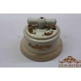 Выключатель двухклавишный с керамической ручкой бантик, «Золото», подрозетник береза