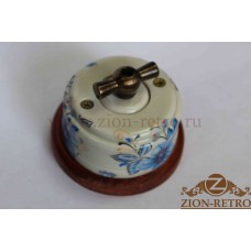 """Выключатель одноклавишный (проходной) с металлической ручкой бантик в стиле ретро, """"Лазурь"""", подрозетник вишня"""