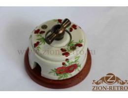 Выключатель двухклавишный с металлической ручкой бантик, «Лето», подрозетник вишня