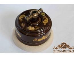 Выключатель двухклавишный с металлической ручкой бантик, «Магия Золота», подрозетник береза