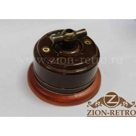 Выключатель двухклавишный с металлической ручкой бантик, «Шоколад», подрозетник вишня