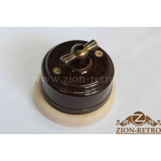 """Выключатель одноклавишный (проходной) с металлической ручкой бантик в стиле ретро, """"Шоколад"""", подрозетник береза"""