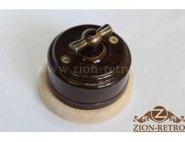 Выключатель одноклавишный (проходной) с металлической ручкой бантик, «Шоколад», подрозетник береза
