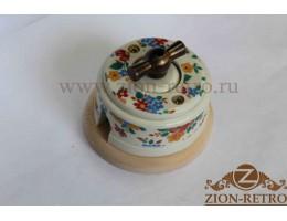 Выключатель двухклавишный с металлической ручкой бантик, «Ситец», подрозетник береза