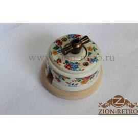 Выключатель одноклавишный (проходной) с металлической ручкой бантик, «Ситец», подрозетник береза