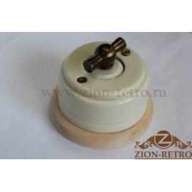 Выключатель двухклавишный с металлической ручкой бантик, «Слоновая кость», подрозетник береза