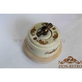 Выключатель двухклавишный с металлической ручкой бантик, «Золото», подрозетник береза