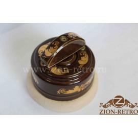 Выключатель двухклавишный с керамической ручкой полумесяц, «Магия Золота», подрозетник береза
