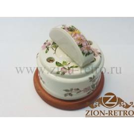 """Выключатель одноклавишный (проходной) с керамической ручкой полумесяц, """"Нежность"""", подрозетник вишня"""