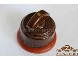 Выключатель одноклавишный (проходной) с керамической ручкой полумесяц, «Шоколад», подрозетник вишня