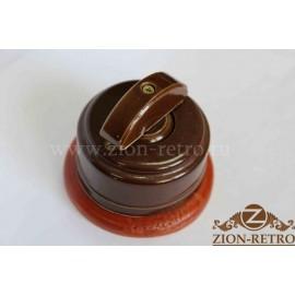 Выключатель двухклавишный с керамической ручкой полумесяц, «Шоколад», подрозетник вишня