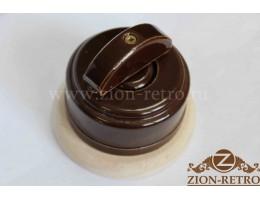 Выключатель двухклавишный с керамической ручкой полумесяц, «Шоколад», подрозетник береза
