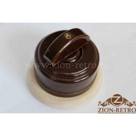 Выключатель одноклавишный (проходной) с керамической ручкой полумесяц, «Шоколад», подрозетник береза