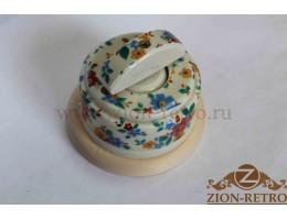 Выключатель одноклавишный (проходной) с керамической ручкой полумесяц, «Ситец», подрозетник береза